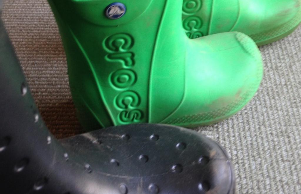 子供の遠足(芋掘り)で汚れたクロックスの長靴