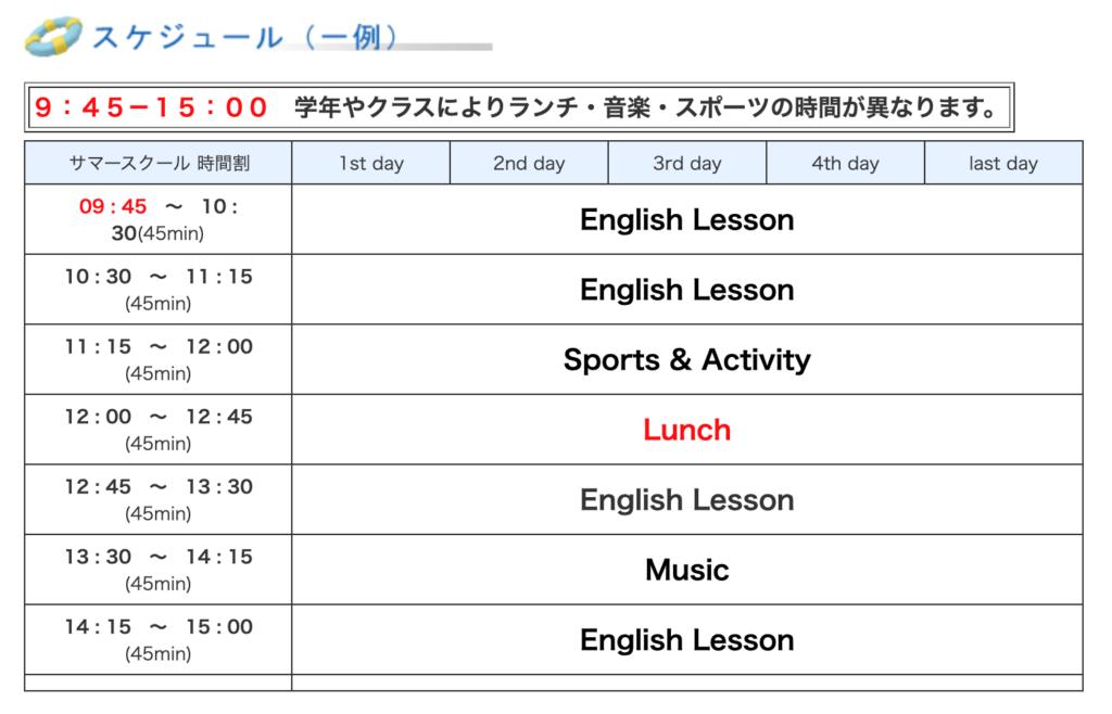 清泉インターナショナルのサマースクールのスケジュール例